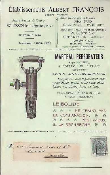 Publicité envoyée à Bernard Frères 1909