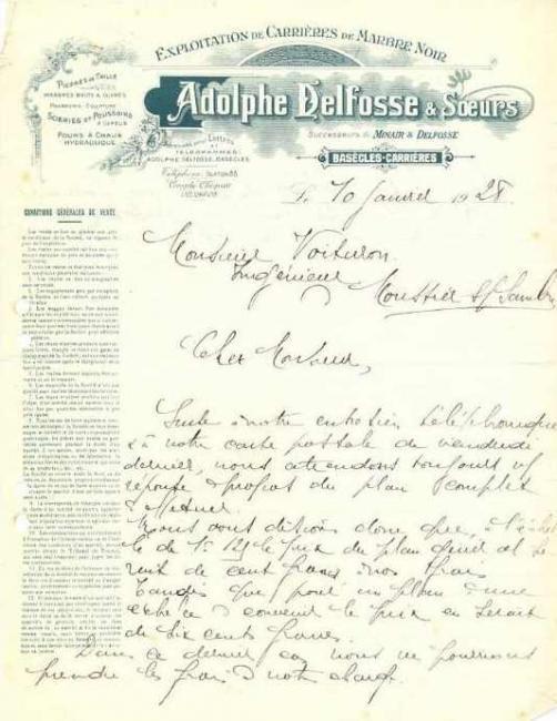 Carrières Adolphe Delfosse & soeurs 10 janvier 1928