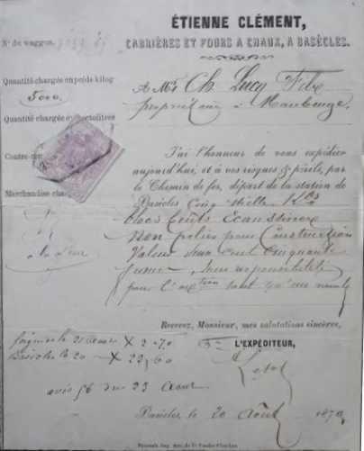 Carrières et Fours à Chaux Etienne Clément 20 août 1870