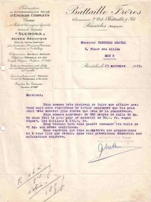 Engrais  Battaille Frères 1929
