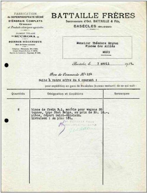 Engrais Battaille Frères commande 1933